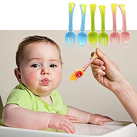 2 pairs Baby Feeding Spoons Infant Weaning Spoons Training Spoon Teether for 0-6 Months Baby Boys Girls,Color in (Stainless King Ounce Food Jar)
