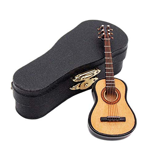 Odoria 1:12 Wooden Acoustic Guitar with Stand and Case Musical Instrument Miniaure Dollhouse from Odoria