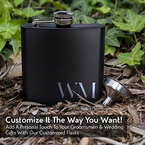 Set of 6, Set of 3, Single - Personalized Flask, Groomsmen Gift, Customized Groomsman Flasks, Wedding Favors, Matte Black, Design 2 (6) by United Craft Supplies (Image #4)
