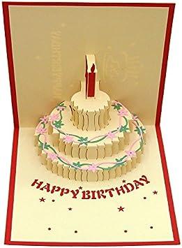 Marvelous Amazon Com Queeni 3D Pop Up Creative Greeting Cards Handmade Personalised Birthday Cards Veneteletsinfo