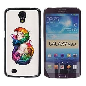 Carcasa Funda Prima Delgada SLIM Casa Case Bandera Cover Shell para Samsung Galaxy Mega 6.3 I9200 SGH-i527 / Business Style Colorful Woman