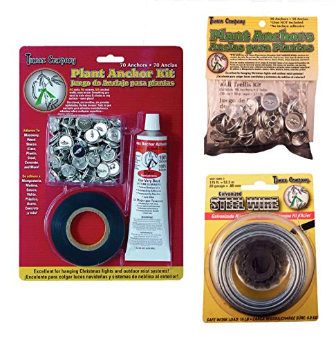 Plant Anchors - Tumax Plant Anchor Kit Bundle with Galvanized Steel Trellis Wire and Extra Wall Anchors for Training Vines, Roses and Climbing Garden Plants Also Decorative Stringed Lights and Outdoor Mister Systems