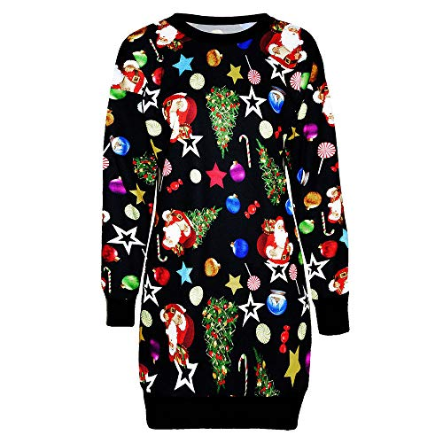 - Seamount Women's Long Sleeve Knee Length Casual Sweatshirt Pullover Dress Sparkle Print Christmas Mini Party Dress (Colorful, L)