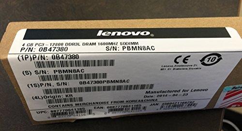 Lenovo 0B47380 4GB DDR3L PC3-12800 1600MH SODIMM Memory Retail (Lenovo Thinkpad Edge E145)