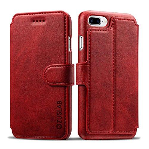 iPhone 8 Plus / iPhone 7 Plus Funda Cuero ZUSLAB [Delux Vegan Flip] Carcasa plegable cartera Con Cierre Magnético, Tarjeta Bolsillo Cubierta, billetera con 3 ranuras para tarjetas, Funda soporte horiz Vino Tinto