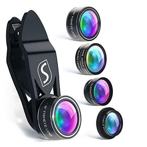 SVIT Phone Camera Lens Kit - 5 in 1 Optical Glass Mobile Attachment Set - 2X Zoom Telephoto, 198 Fisheye, 0.63X Wide Angle, 15X Macro, CPL Filter and Universal Clip - 60 Tabs Enhancer