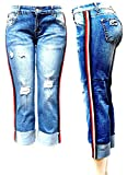 JEANS FOR LOVE XO7 Trendy Womens Casual Distressed Side Stripe Mom Denim Jeans Pants