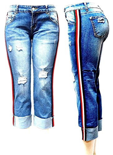 JEANS FOR LOVE SS-Look Side Stripe Jeans Women Casual Ripped Distressed Boyfriend Jeans Pants Roll Cuff Loose Straight Wide Leg Denim Jeans Trousers (Blue C-A10553, 15) by JEANS FOR LOVE