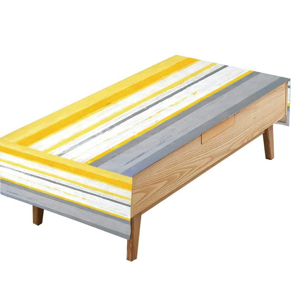 PINAFORE ポリエステル製テーブルクロス グレー イエロー 抽象画 絵画 キッチン ホーム装飾 幅50×長さ80インチ W60