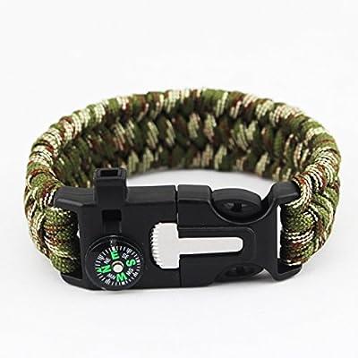 2PCS PACK DETUCK(TM) Outdoor Paracord Bracelet Wrist Survival Bracelet Rope With Compass Flint Fire Starter Scraper Whistle