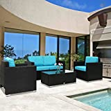 Peach Tree 4 PCs Outdoor Patio PE Rattan Wicker Sofa Sectional Furniture Set with Tea Table