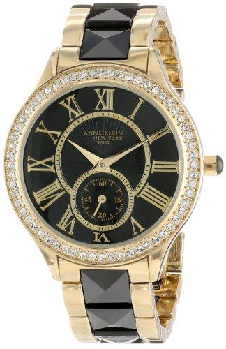 Anne Klein Women's 12/2142BKGB Swarovski Crystal Accented Gold-Tone and Black Ceramic Pyramid Bracelet Watch (Anne Numeral Roman Bracelet Klein)