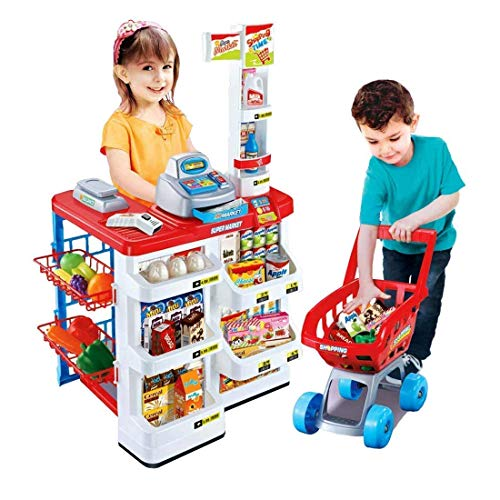 TWISHA ENTERPRISE Kids Role Pretend Playset Big Size Supermarket kit for Kids Toys with Shopping Cart and Sound Effects Kitchen Set for Boys/Girls for Birthday Gift,Plastic,Multi color(Pack of 1 set)