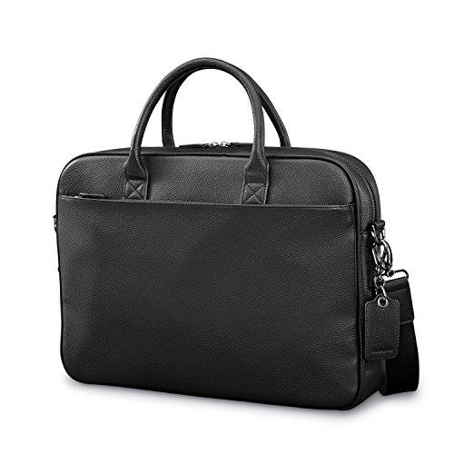 Samsonite Mens Leather Classic Slim Briefcase Black
