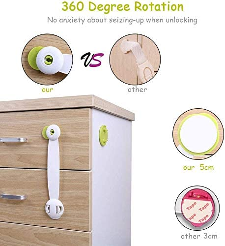 Strong Adhesive Locks for Kitchen Cupboards Drawer Closet Refrigerator Trash-No Tools or Drilling Needed Child Safety Locks 5 Pack Child Safety Cupboard Latch Stick On