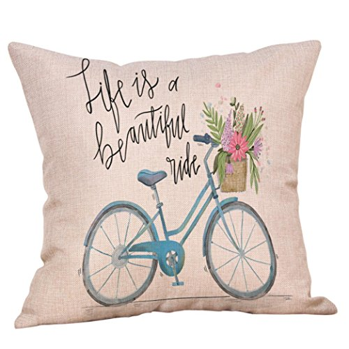 Pillow Cover, Jujunx Happy Valentine's Day Throw Pillow Case Sweet Love Square Bicycle Cushion Cover (B) (Sunshine Pillow Travel Kids)