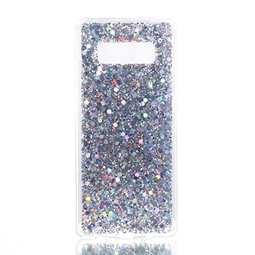 Price comparison product image Urberry Samsung Galaxy Note 8 Case, Bling Sparkling Shock-proof Case for Samsung Galaxy Note 8 with a Free Screen Protector (Silver)