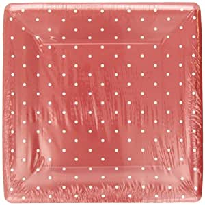 Design Swiss Dot-Red 10 Inch Square Dinner Plate, 8 Plates per Set