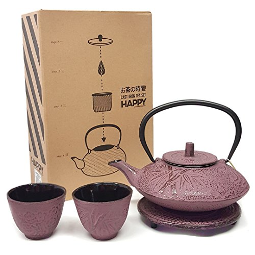 Happy Sales HSCT-MBP06, Cast Iron Tea Pot Tea Set Bamboo Pink, 18-OZ