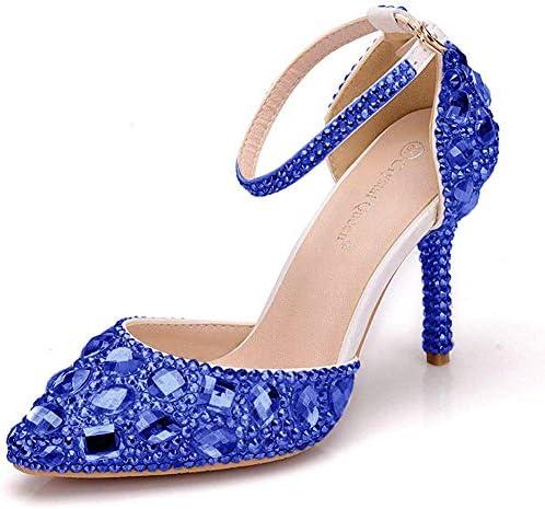Royal Blue Rhinestone Sandals Thin High