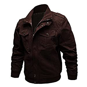Dwar Men's Casual Long Sleeve Full Zip Fashion Outdoor Jacket with Shoulder Straps