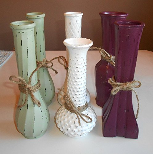 Amazon Upcycled Vintage Milk Glass Clear Glass Bud Vases