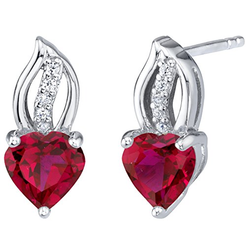 Created Ruby Sterling Silver Heart Earrings 2.00 Carats Total ()