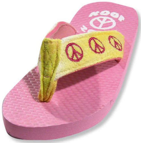 Sole Kool - Girls Peace Flip Flop, Pink, Yellow 19712-Large