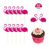 BTSD-home 3D Pink Flamingo Cupcakes Party Supplies Toppers Food Picks Party Cocktail Tropical Cupcake Picks Decoration(50 Pack)