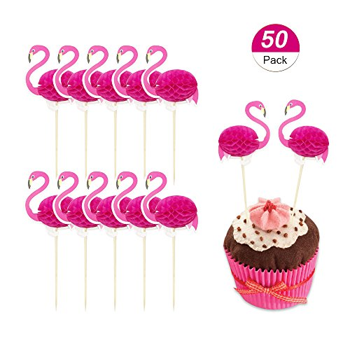 BTSD-home 3D Pink Flamingo Cupcakes Party Supplies Toppers Food Picks Party Cocktail Tropical Cupcake Picks Decoration(50 Pack) -