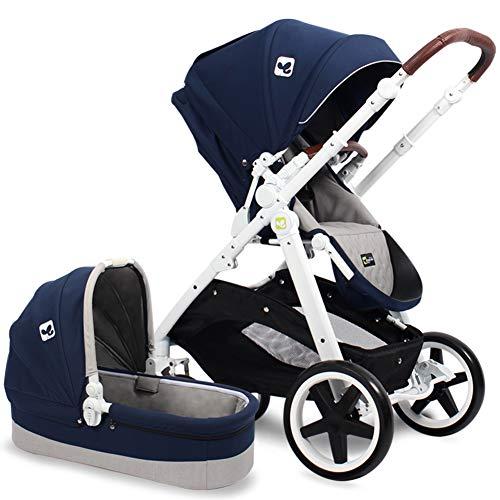 SJZQ Lightweight Baby Stroller Convertible Reversible Pram Newborn and Toddler Baby Carriage 1079,Blue-B