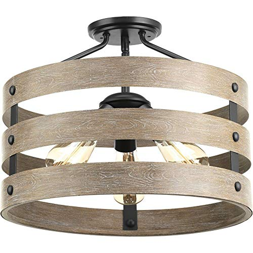 Progress Lighting P350049-143 Gulliver Three-Light Semi-Flush Convertible, Graphite finish