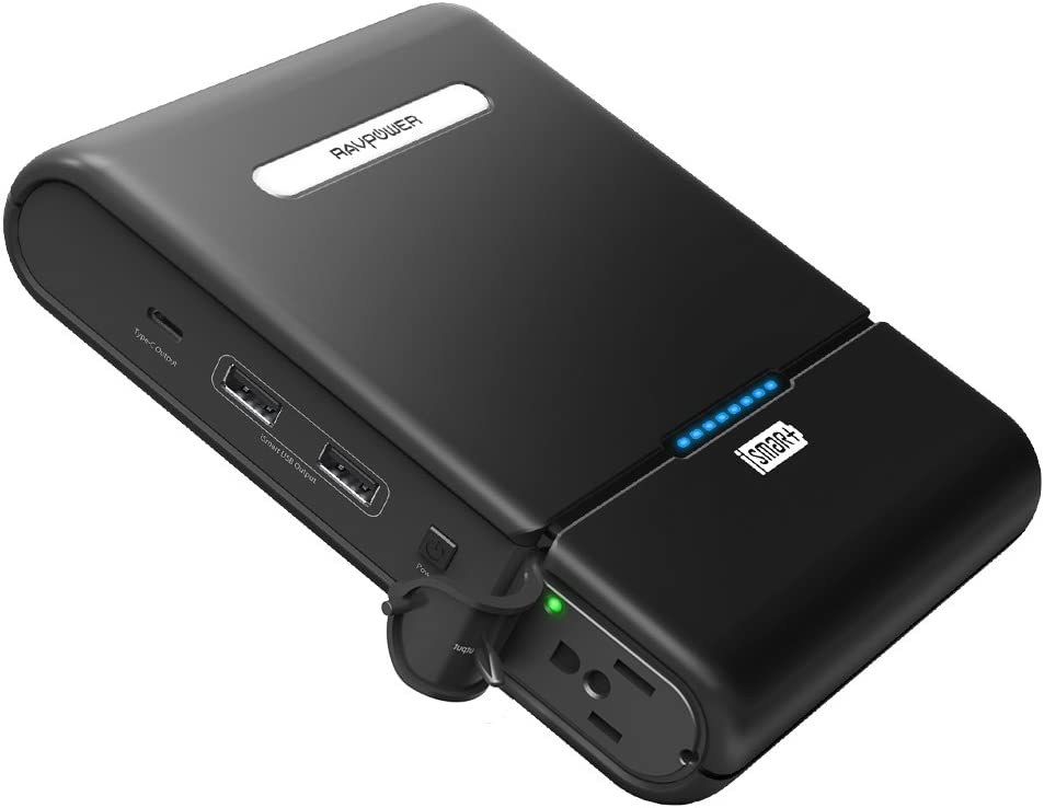 AC Portable Charger RAVPower 27000mAh AC Power Bank 85W (100W Max )AC Outlet Portable Laptop Charger Outdoors Travel Laptop External Battery Pack Compatible with HP Notebooks MacBook Nintendo Switch