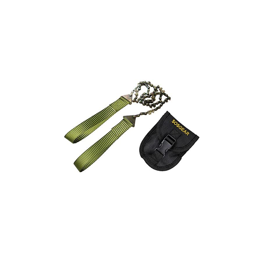 """SOS Gear Pocket Chainsaw and Fire Starter Survival Hand Saw, , Firestarter with Built in Compass & Whistle, Embroidered Pouch for Camping & Backpacking Green Straps, 24"""" Chain"""