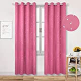 Window Curtains Star Eyelet Children's Room Darkening Starry Sky Window Treatment Drapes Thermal Insulated for living Room, 2 Pcs (W46'' x L72'',Pink)