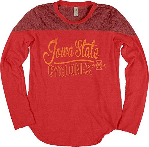 NCAA Iowa State Cyclones Adult Women NCAA Women's Dyed Long Sleeve Yoke Tee,Large,Nantucket Red