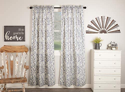 Piper Classics Doylestown Blue Floral Panel Curtain