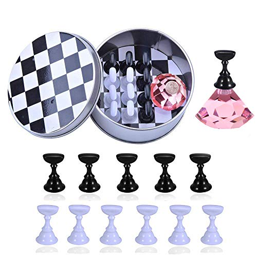1 Set Nail Tips Stand Holder, Kalolary Magnetic Stuck Crystal Nail Art Holder, Chessboard Nail Art Display Tools Set for Art Salon DIY and Practice Manicure