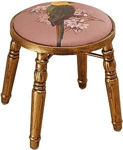 Footstools Iron Round Dressing Stool | Retro Makeup Stool Hairdressing Stool | Luxury Bar Seatting Stool Dining Chair with Brass Stool Leg