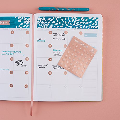 Erin Condren Date Dots Metallic Rose Gold Color. 432 Adhesive Date Dot Stickers w/36 Date Stickers per Page