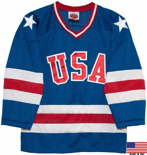 1980 USA Olympic Miracle on Ice Hockey Jersey (Youth Sizes) (Blue, Small)