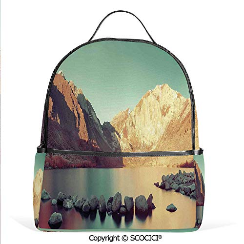 Casual Fashion Backpack Snow Mountain and Convict Lake with Reflections in Yosemite Countryside Scene,Green Beige,Mini Daypack for Women & -