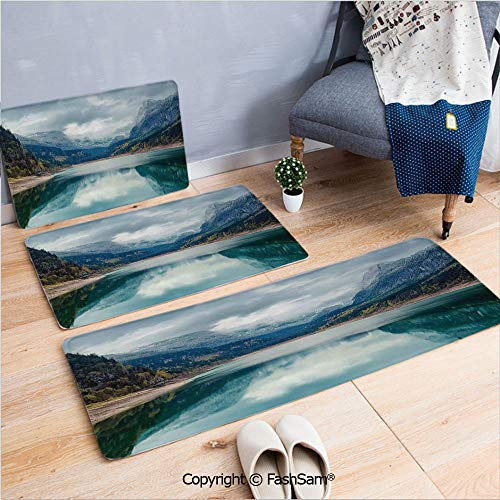 3 Piece Non Slip Flannel Door Mat Alpine Lake with Dramatic Sky Forest and Mountains Fantastic Journey Art Photo Indoor Carpet for Bath Kitchen(W15.7xL23.6 by W19.6xL31.5 by W19.6xL59)