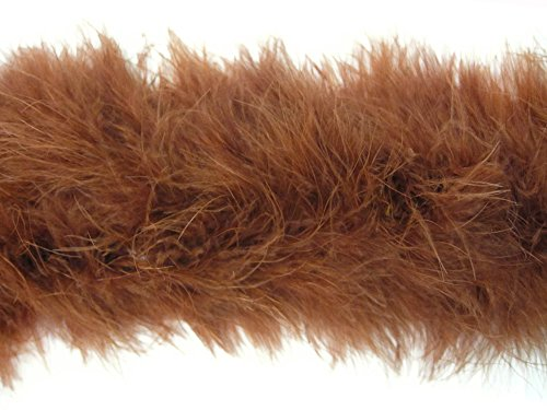 Moonlight Feather | 2 Yards - Brown Turkey Medium Weight Marabou Feather Boa, 25 grams for Halloween, Costume, Party and More