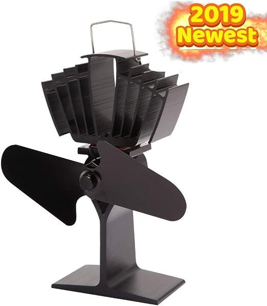 FLY FLU Ventilador De Estufa Ecológico De 2 Palas Alimentado por Calor para Leña/Chimenea De Leña Chimenea Que Circula Aire Caliente con 140CFM: Amazon.es: Hogar