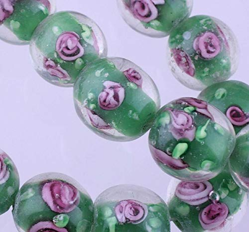 1 Strand Lampwork Glass 12-13Mm Encased Clear Green with Roses Round Beads