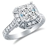 Size 6 - Solid 14k White Gold Princess Cut Solitaire with Round Side Stones Highest Quality CZ Cubic Zirconia Engagement Ring 2.0ct.