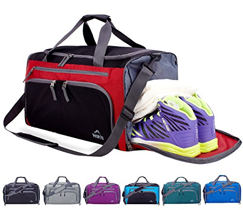 Venture Pal Packable Sports Gym Bag with Wet Pocket & Shoes Compartment Travel Duffel Bag for Men and Women-Red/Black