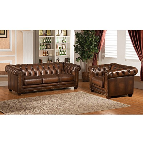 Amax Leather Stanley Park II Leather Sofa and Armchair, Brown