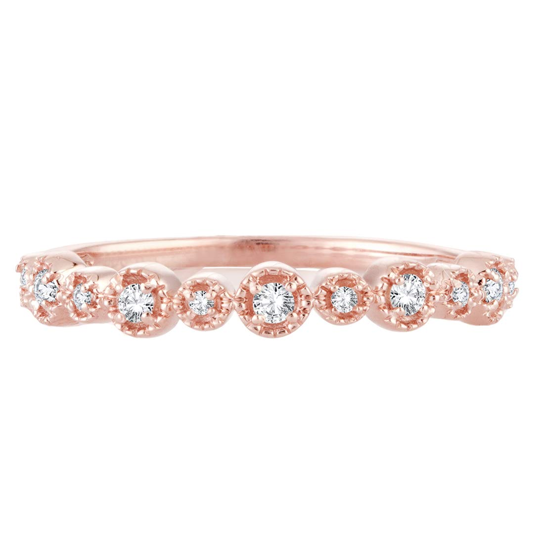 0.11 Cttw Diamond Alternating Band Stackable Vintage Expression Ring In 10k Rose Gold EternalDia GL-1202605000037//Parent